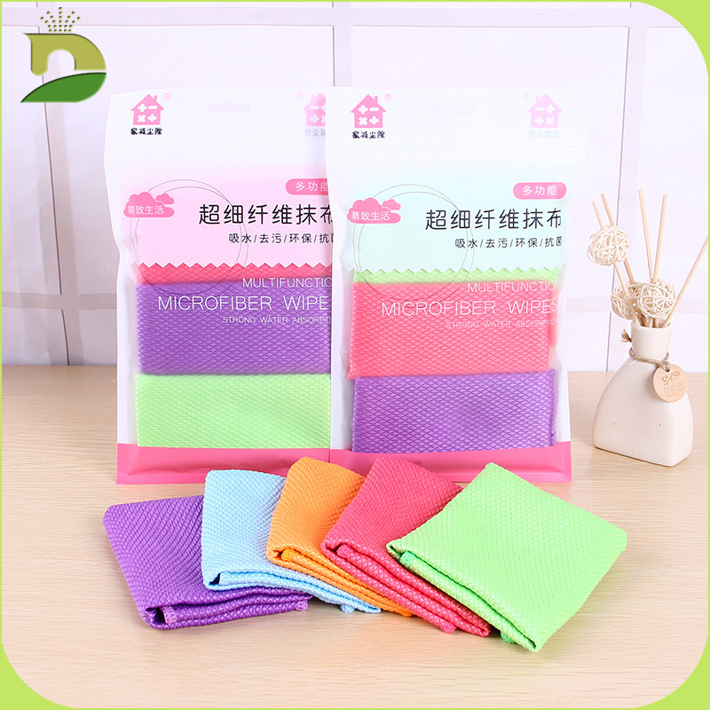 Honest Window Cleaning Lazy Kitchen Dish Cloth Microfiber Glass Rag 3 Pairs/pack Fish Scale Rag Firm In Structure