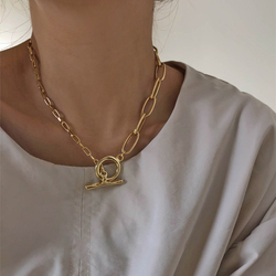 Vintage Circles Chains Necklace Women's Kpop Geometric Abstract OT Buckle Choker Chain Party Fashion Jewelry Gifts