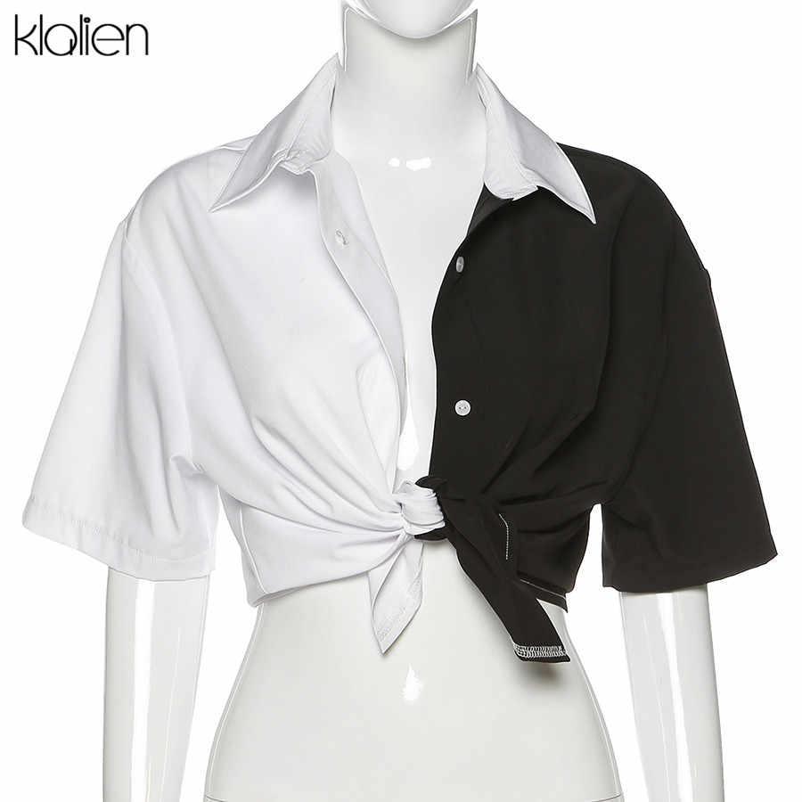 Klalien Zwart Wit Patchwork T Shirt Vrouwen Korte Mouwen Tee Casual Eenvoudige Mode College Jong Hip Hop Street Style 2020 nieuwe