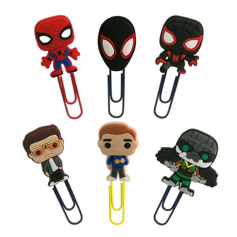 1pcs Cool Spider Man Design Bookmarks Paper Clips For School Teacher Students School Office Supply DIY Page Holder Friends Gift