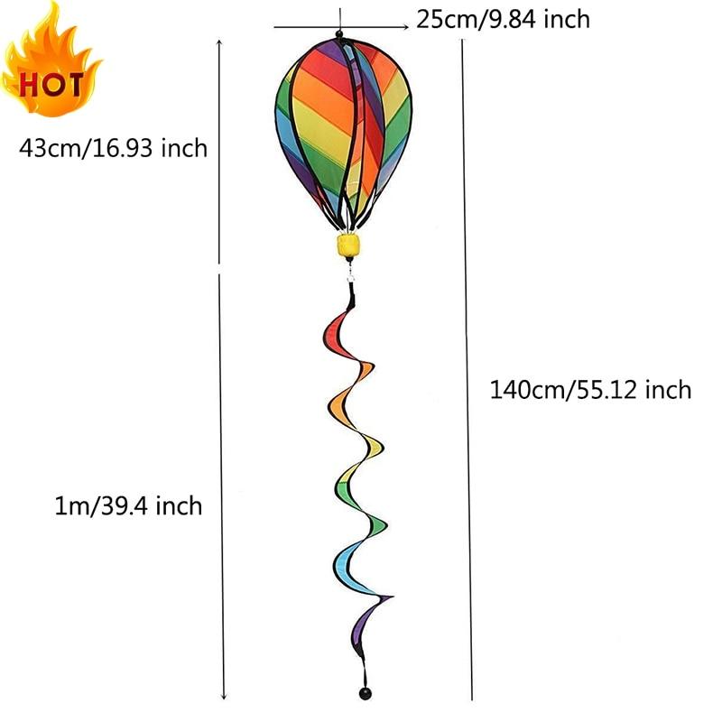 1Pc Rainbow Stripe Windsock Hot Air Balloon Wind Spinner Outdoor Kids Toy