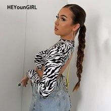 HEYounGIRL-Camiseta con estampado de cebra para mujer, Top corto con espalda descubierta, camiseta Sexy de manga larga, Tops cortos de moda, ropa de calle