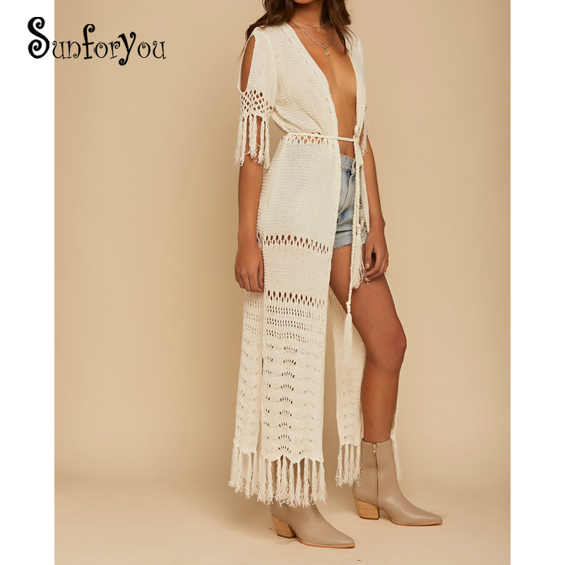 Knit Long Beach Cover up Beach Kaftan Tunics for Beach Swimsuit cover up Robe Plage Tassel Bathing suit Women Crochet cover Up