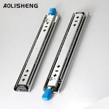 AOLISHENG Three-fold Fully Extended Heavy-duty Drawer Slides With Lock 53 mm Push Open Undermount Slide Rail Load 120KG