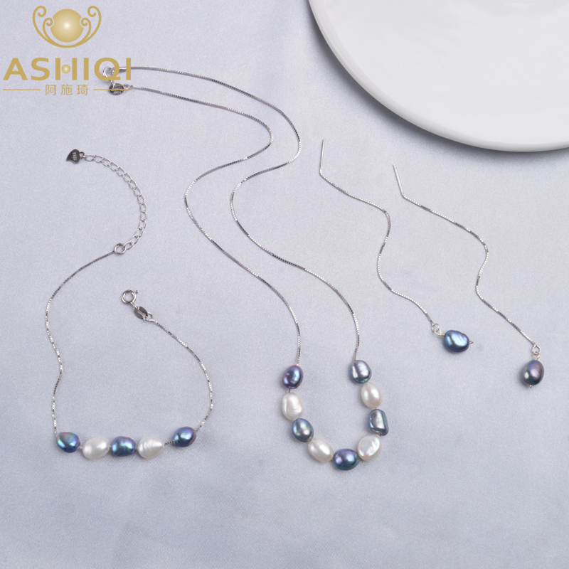 ASHIQI 925 Sterling Silver Jewelry Sets Real Baroque Freshwater Pearl Necklace Earrings Bracelet For Women New