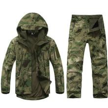 Уличная Водонепроницаемая флисовая куртка, военный Камуфляжный костюм для мужчин и женщин, походная охотничья одежда, тактическая флисовая куртка+ штаны