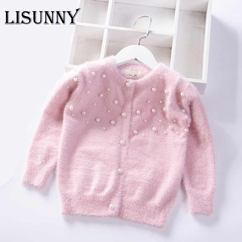 2019 Autumn Winter Pearl Solid warm Girls Sweater Baby Princess mink velvet knit Cardigan jacket Kids Clothes Children Clothing