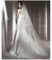 2 layer wedding veil satin edge 3 meter long 3 meter long and 2.5 meter wide bridal veil in white, ivory