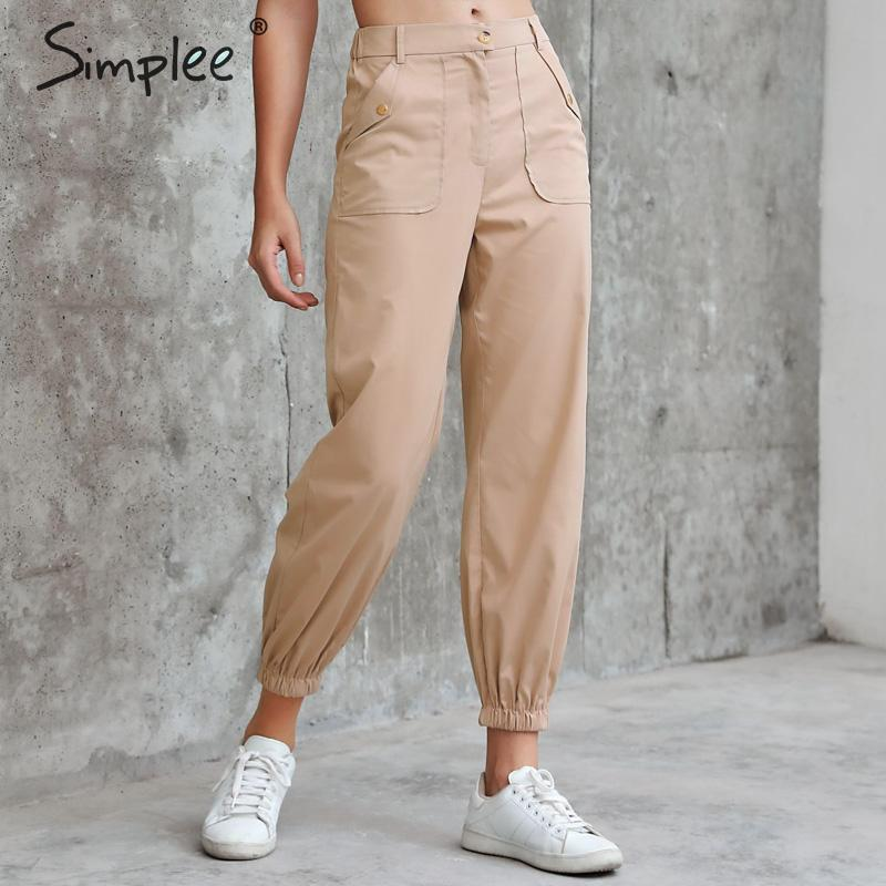 Simplee Casual High Waist Women Cargo Pants Buttons Pockets Female Autumn Winter Trousers Loose Streetwear Ladies Pants Bottoms