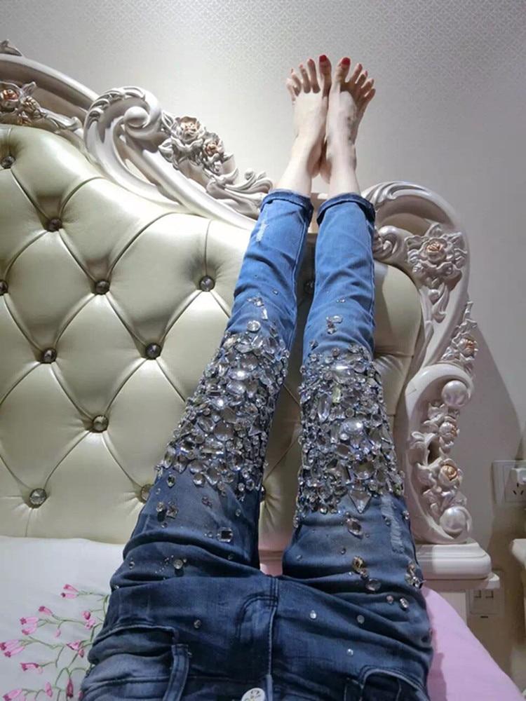 Evropská stanice s vysokým pasem džínové džíny dámské díry diamantové vrtání horké strečové těsné tužkové džíny