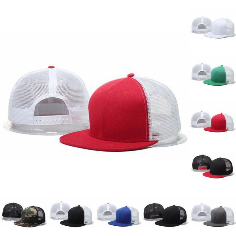 New trendy print casual Adjustable Snapback Trucker   Baseball     Cap   Travel Hat Men Women Summer Mesh Visor Flat Hat Black White