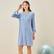 Pijamas de verano holgados y de fibra de bambú cómoda, camisón de mujer con mangas de nueve cuartos