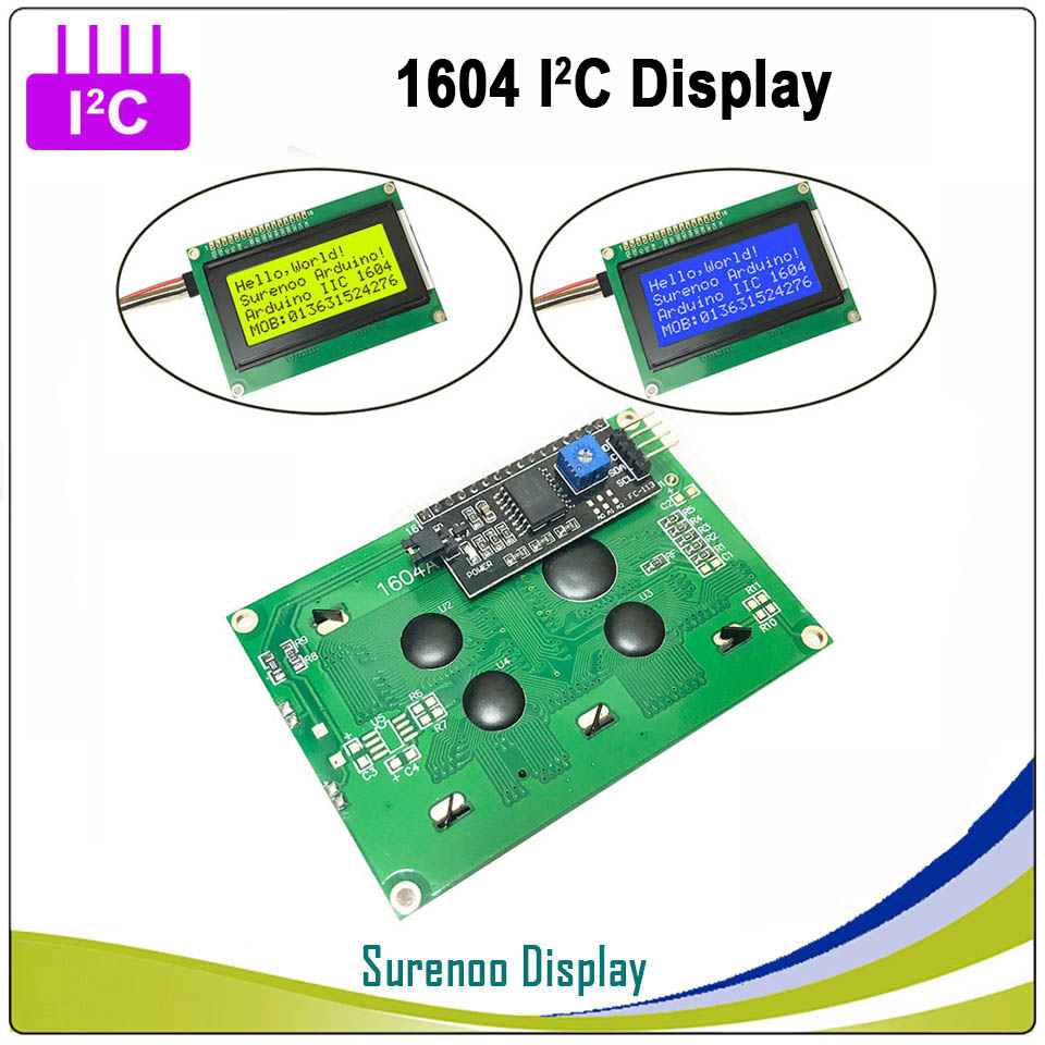 Serial IIC / I2C / TWI <font><b>1604</b></font> 164 16*4 Character <font><b>LCD</b></font> Module Display Yellow Green Blue with Backlight for Arduino image