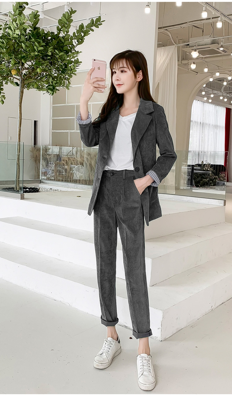 Autumn Winter Blazer Pants Suit Women Korean Chic Fashion Office Ladies Green Corduroy Casual High Waist Small Feet Pants Suit 63
