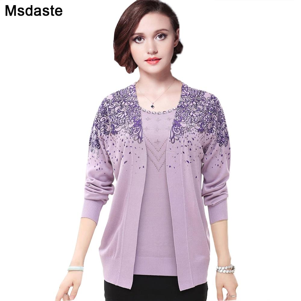 Sweater Set 2 Pieces Women Sweaters Tops Floral Tee Shirt + Blouse Suits Autumn Winter Pullovers Femme Plus Size 3XL Top Suit