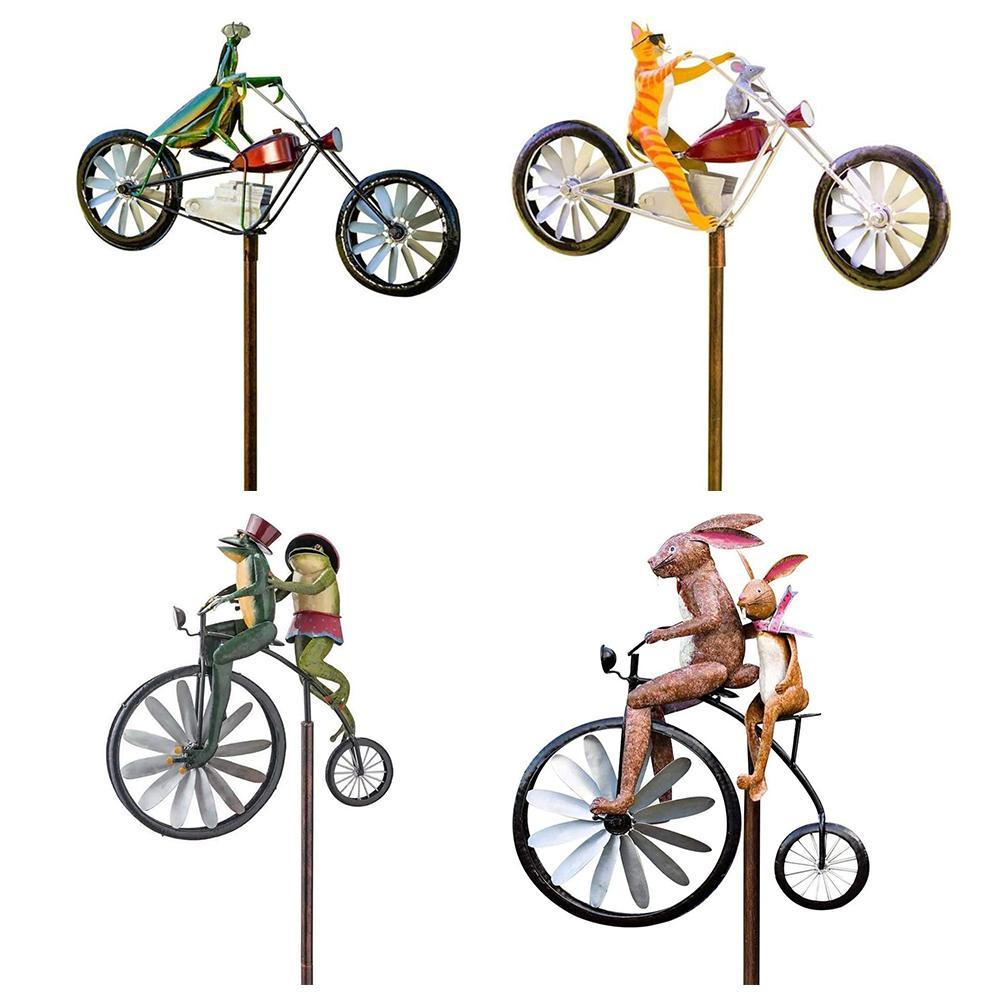 Bicycle Metal Windmill Handmade Bike Frog Cat Bunny Mantis Sculpture for Garden Yard Lawn Decoration