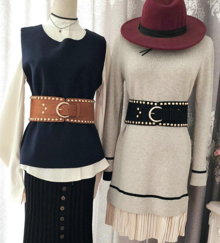 Women's Runway Fashion Rivet PU Leather Cummerbunds Female Dress Coat Corsets Waistband Belts Decoration Wide Belt R1742