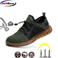 DEWBEST 2019 New Breathable Mesh Safety Shoes Men Light Sneaker Indestructible Steel Toe Soft Anti-piercing Work Boots Plus size