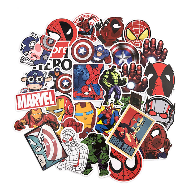 50Pcs Marvel The Avengers Cartoon Stickers Waterproof For Laptop Moto Skateboard Luggage Guitar Furnitur Decal Toy Sticker