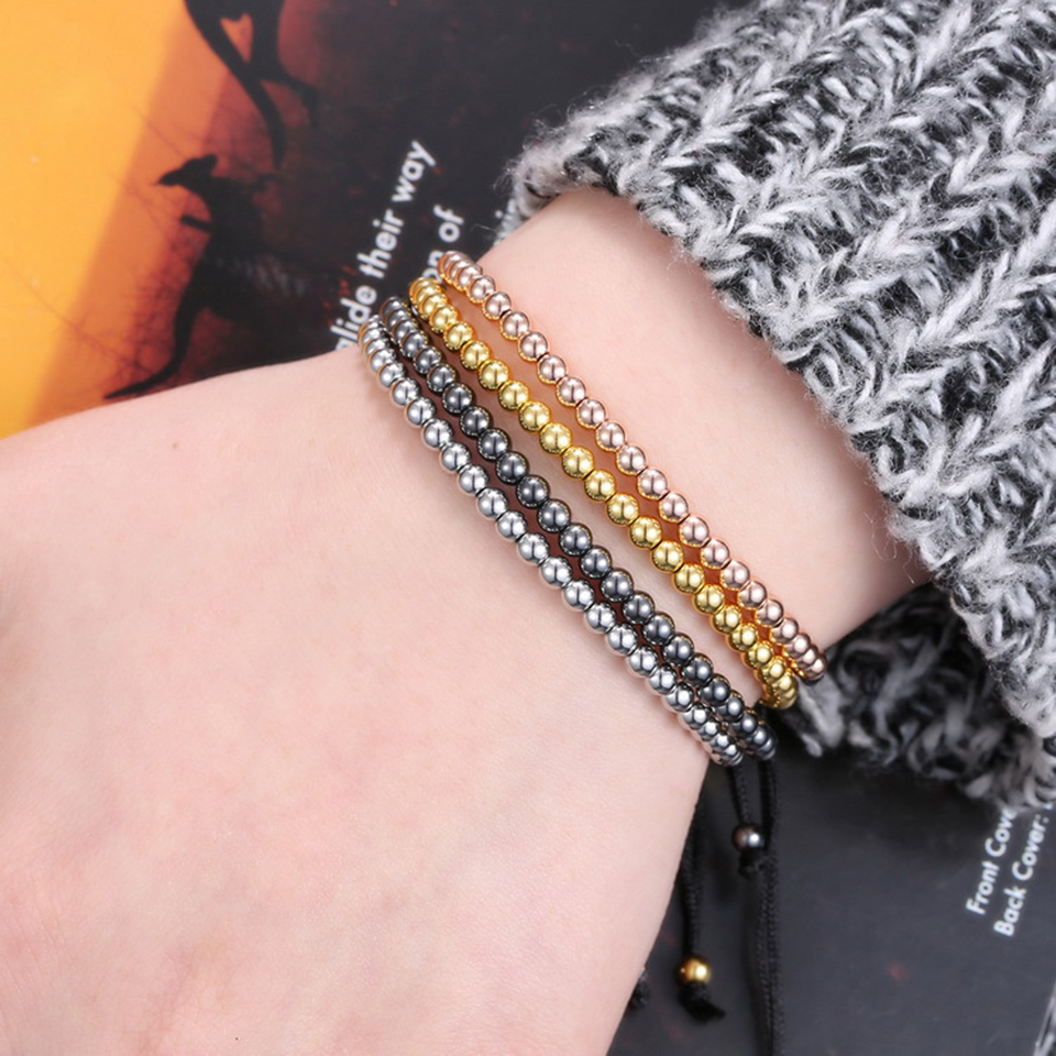 Copper Bead Woven Bracelet Hiphop Rock Street Culture Copper Alloy Bead Woven Chain Bracelet Men Fashion Trendy Jewelry Gift 5