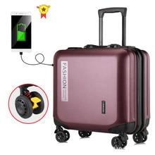 Valise de 18 pouces sur roues bagage de voyage cabine PC sac de chariot à main mode femmes bagages roulants valise hardside hommes
