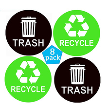 8 packs recycle sticker logo trash sticker box label - 4 x 4 - waterproof tissue and coordinated recycling of waste waste цена