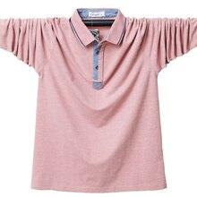 Polo-Shirt Long-Sleeve Cotton Slim-Fit Business Plus-Size Men Casual Autumn 6XL Solid