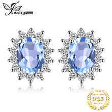 Natural Topza Gemstone Earrings Stud Genuine 925 Sterling Silver Vintage Charm Gift For Girls 2015 Brand New Jewelry On Sale