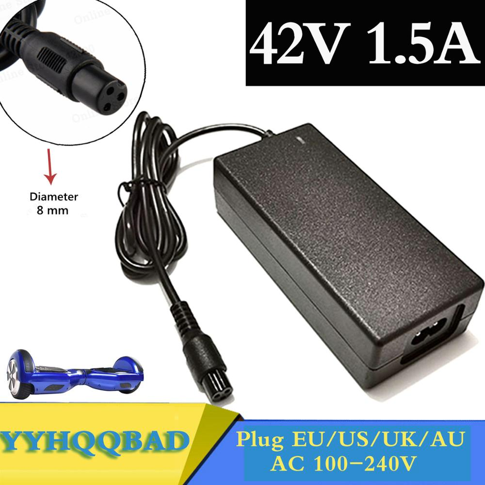 Wholesale 42V 1 5A Universal Battery Charger Hoverboard for Self-Balancing Scooter 100-240VAC Power Supply free shipping