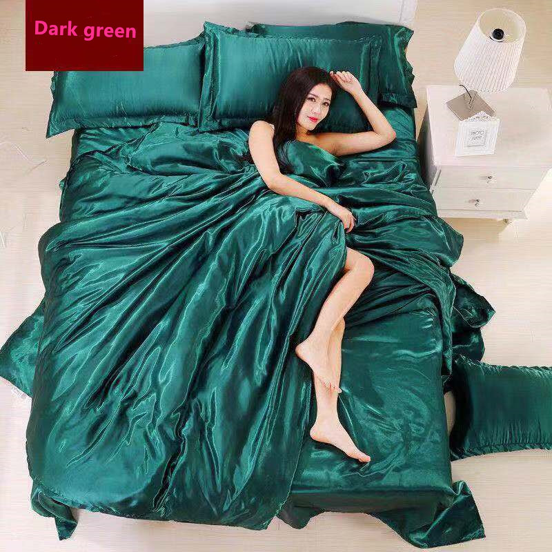 2019 New Multi-color Ice Silk 4 Piece Set Bedding High Quality Ice Silk Satin Satin Soft Comfortable Bed 4 Bed Sets