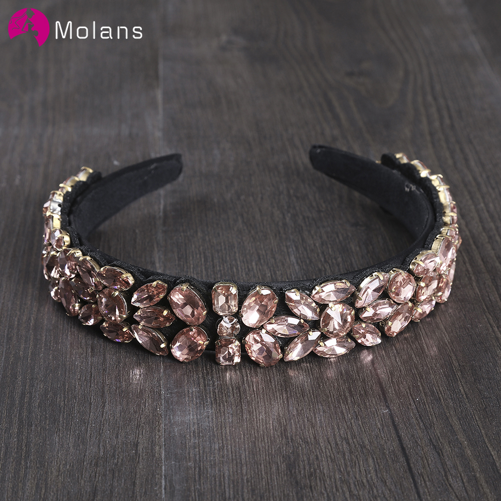 MOLANS 2019 Broque Style Diamond Wedding Hair Hoop Solid Color Hair Accessories Pure Elegant Bridal Headband Hair Band