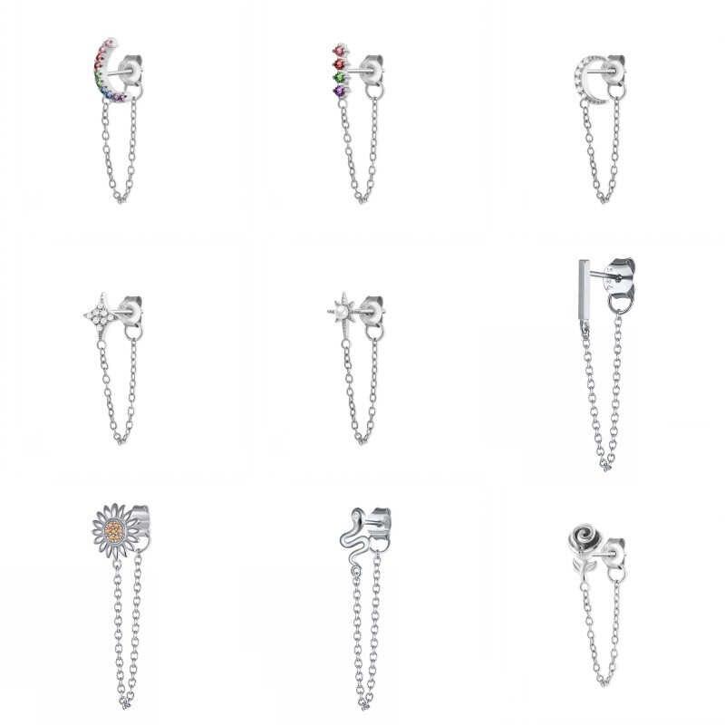 ROXI 925 Sterling Silver Laporan Anting-Anting Geometris Bar Daisy Bintang Ular Anting-Anting untuk Wanita Menggantung Anting-Anting Menjuntai Drop Anting