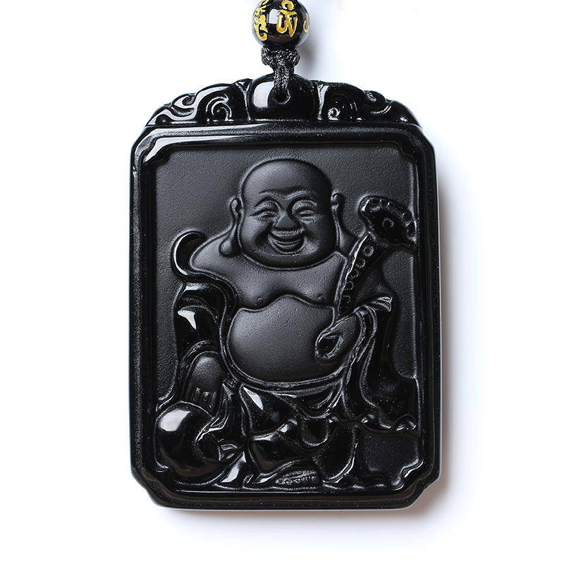 Natural Black Obsidian Bead Necklace Hand-Carved Buddha Jade Pendant Fashion Charm Auspicious Jewelry For Man Women Amulet Gifts