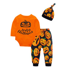 New Kids Toddlers Baby Girl Halloween Pumpkin T-shirt Ruffle Tops+Striped Pant+Cap Festival Girls Outfit Clothes Set 9.10 цена