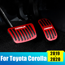 цена на Aluminum alloy Car Accelerator Gas Pedal Brake Pedal Rest Foot Pedals Cover Non Slip Pad Cover AT For Toyota Corolla 2019 2020