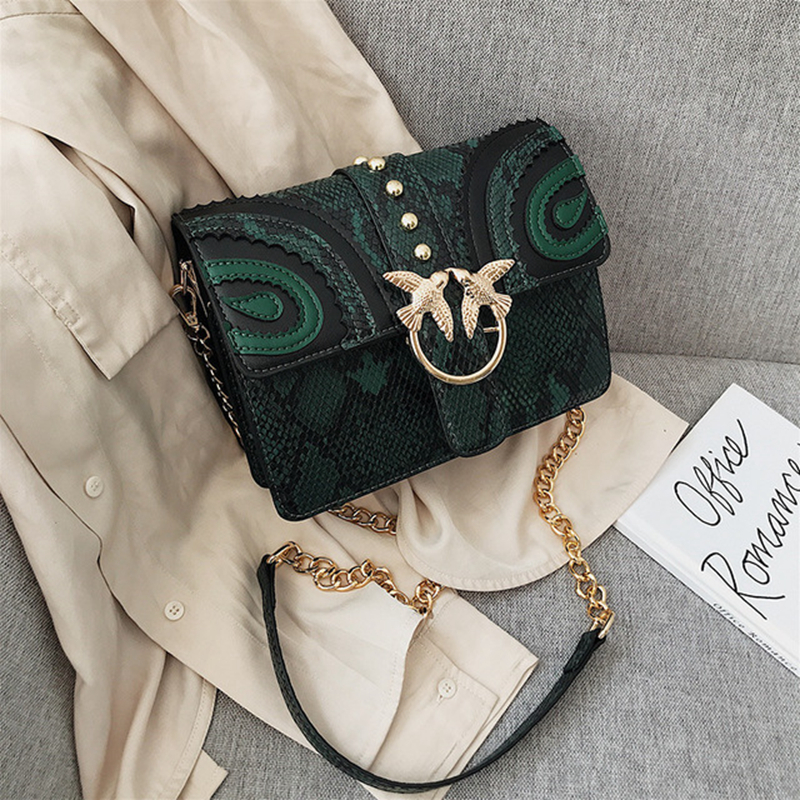 Women's Bags 2020 Fashion Snake Crossbody Bags Luxury Designer Women's Bags Well-known Brands Luxury Premium Chain Shoulder Bags