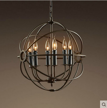 Industrial LOFT Retro Chandelier globe chandelier Coffee Shop Bar Restaurant Kitchen Round Black Color E14 Cage