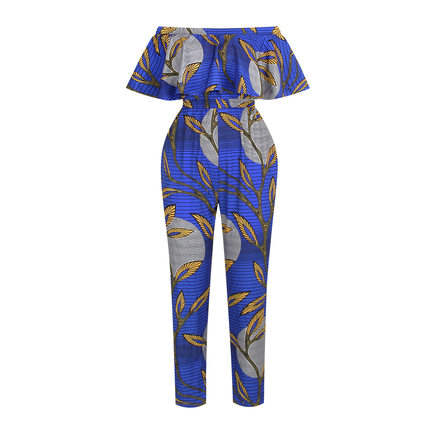 Closeout Deals┬Summer Print Women's Clothing Shoulder Sexy Jumpsuits Ruffled Bra Pants Wholesale