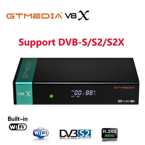 Gtmedia V8X DVB S2-цифра спутниковый телевизионный ресивер встроенная поддержка Wi-Fi H.265 DVB-S/S2/S2X VCM ACM обновления V8 NOVA VS V8 UHD