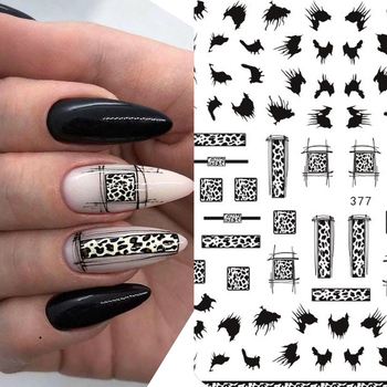 цена на New arrived 3D Nail Stickers Decals black color Snake leopard Pattern Style  Adhesive Stickers Nail Art Decoration Z0267