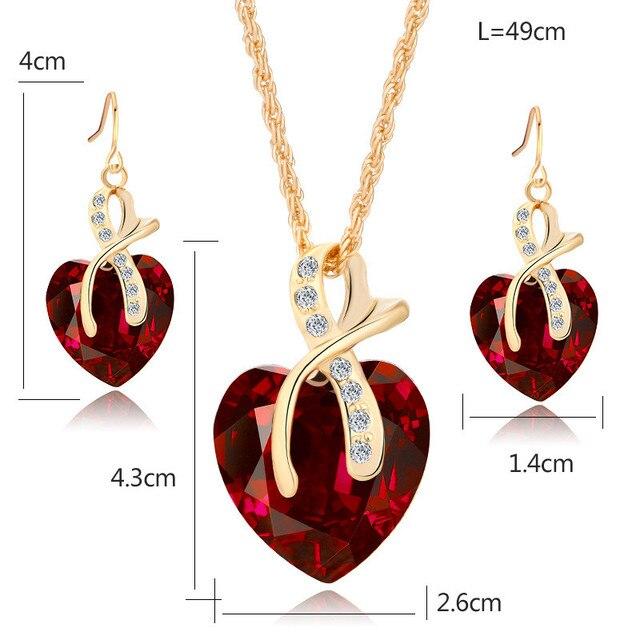 Conjunto de joyería de cristal de arcoíris Vintage para mujer, aretes colgantes de Color dorado con abalorio para mujer, corazón amor, collar de cadena de boda Simple 6
