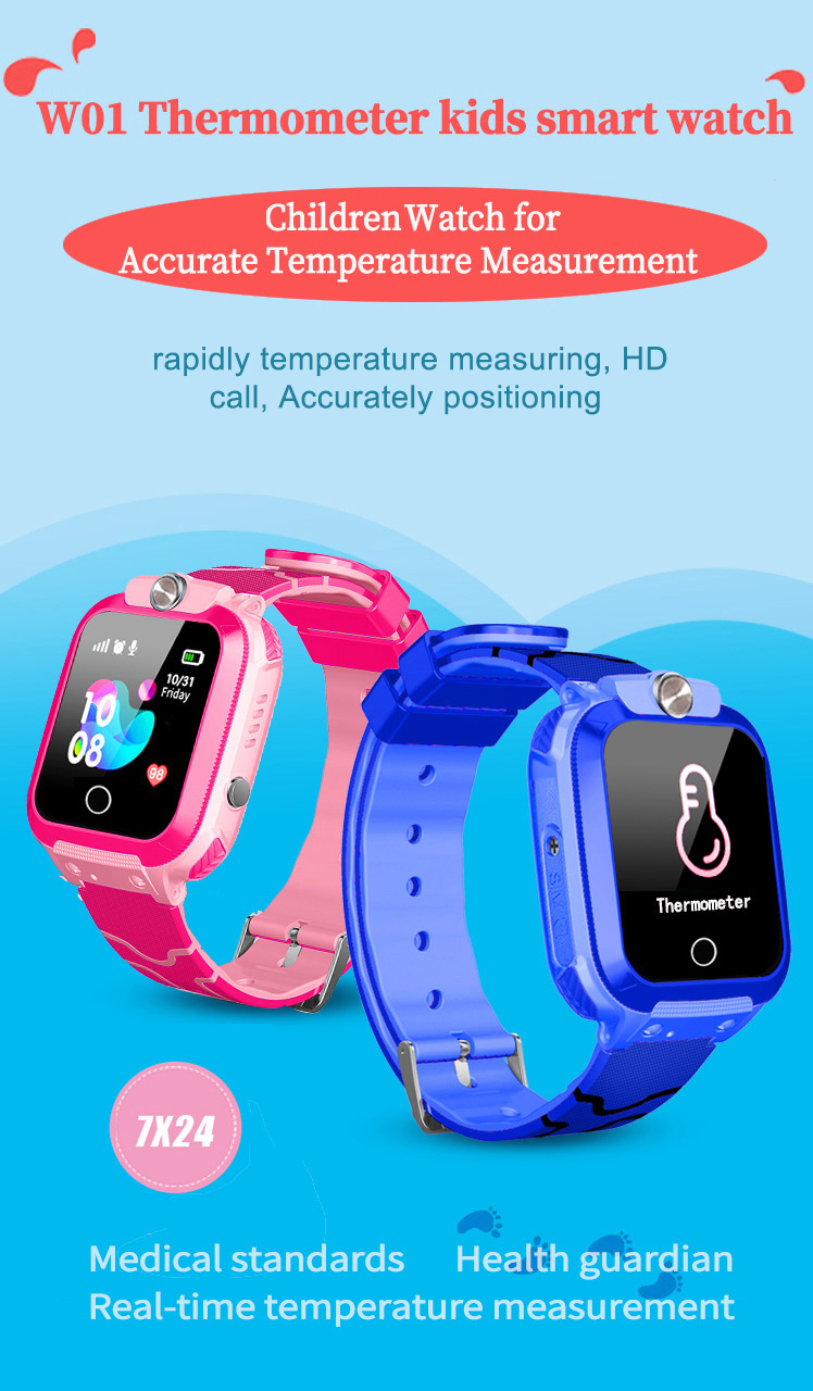 Kids Watch Thermometer LBS Positioning Children Watches SOS Two-way Call Remote Listening IP67 Waterproof Real-time Temperature