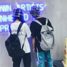 Fashion Youth Backpack Cloth Personality Men And Women Bag Light Trend Unisex Large Capacity Student Hip Hop Style Gray