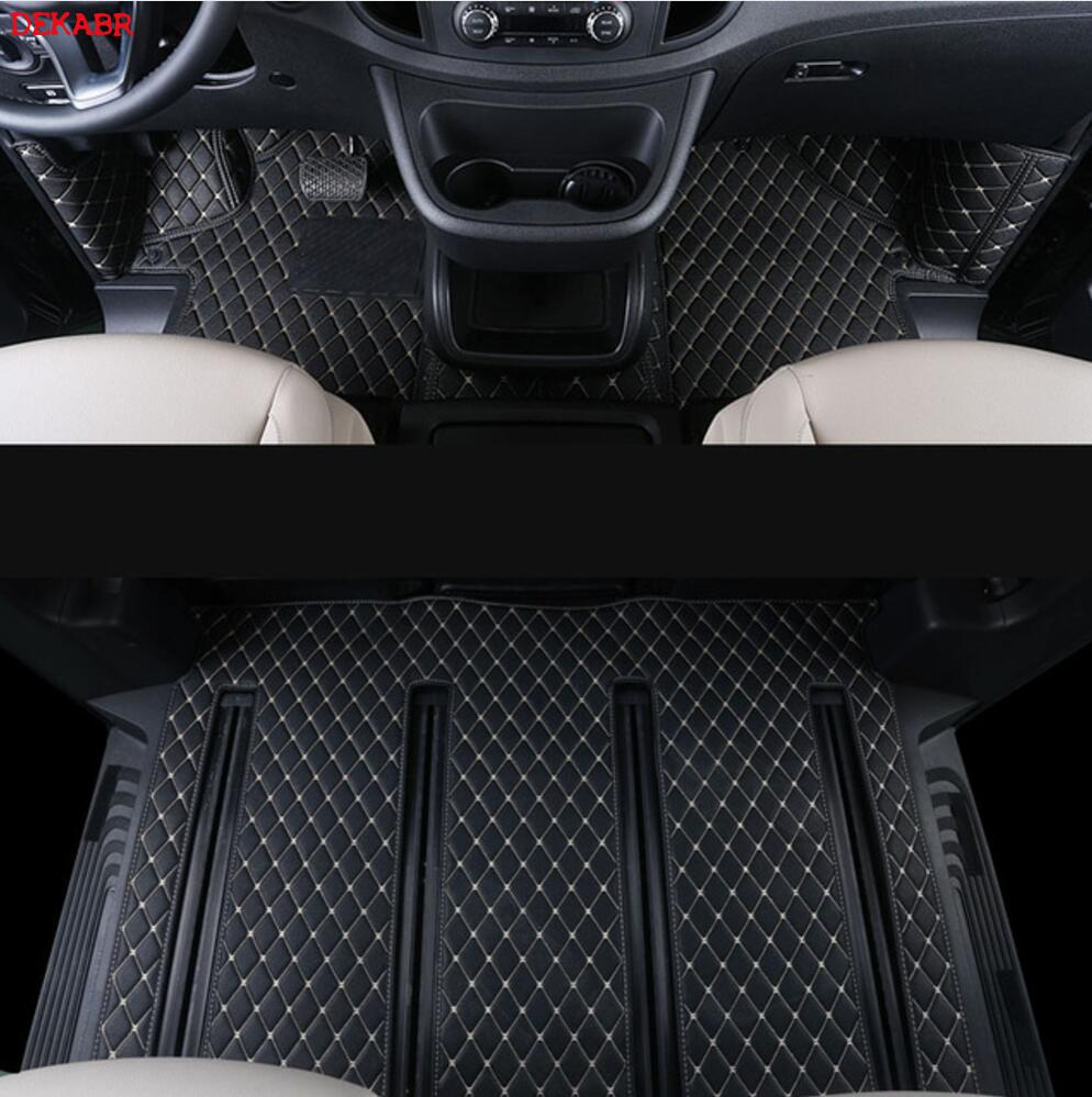 Leather Car Floor Mat Fit For Mercedes Benz V-class Viano Valente Vito Metris W447 2014-2020 2016 2017 2018 2019 Accessories