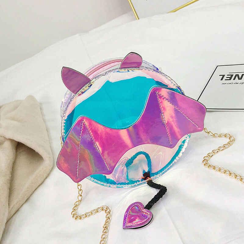 Плюшевый рюкзак для девочек, женская прозрачная сумка из ПВХ, крылья летучей мыши, повседневная сумка-мессенджер, новинка 2019
