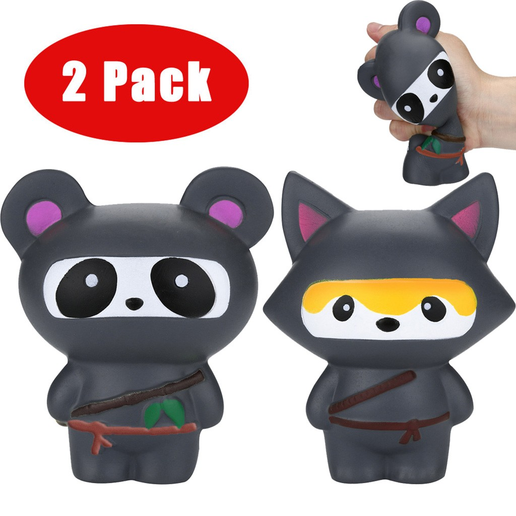 Toys For Children 2Pcs Jumbo Ninja Panda&Ninja Fox Scented Slow Rising  Stress Reliever Toy Kids Toys Squishy Toys Juguetes
