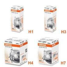 Osram qualidade original h7 h4 h3 h1 12v lâmpada padrão de luz 55w 65w 100w carro halogênio luz 3200k farol auto nevoeiro lâmpada (único)