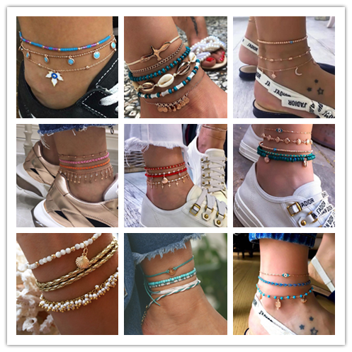 Crazy Feng Boho Anklet Gold Color Multiple Layers Rope Chain Ankle Bracelets Barefoot Sandal Bohemian Foot Jewelry