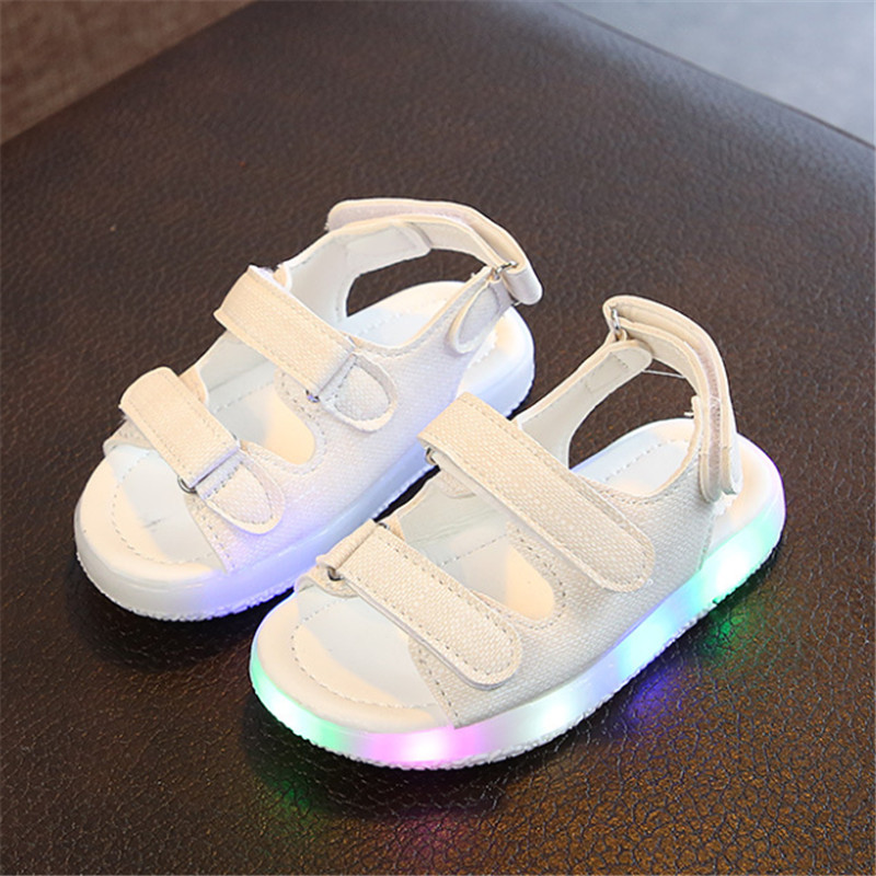 Summer Baby Kids Sandals Open-Toe Boys Girls Sports Sandal With Light Outdoor Beach Shoes Children Casual Light Up Shoes Sandals