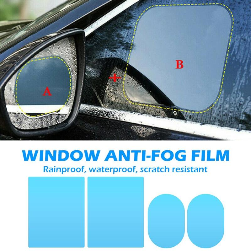 VODOOL 4Pcs/Set Car Mirror Window Clear Film Anti Dazzle Rearview Mirror Waterproof Rainproof Anti Fog Protective Sticker Film